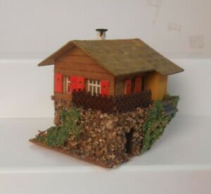 Vintage Faller HO 00 294 House On Hill Composition Wooden Stucco House