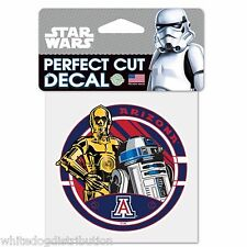 "Arizona University Star Wars R2D2 & C3PO 4"" x 4"" Perfect Cut Color Decal"
