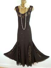 PER UNA M&S Brown Bronze Beaded Sequin Gatsby Maxi Dress Gown UK 16L