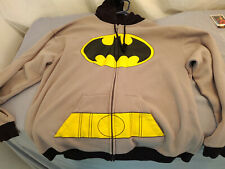 DC Comics BATMAN Full Zip Hoodie size 2XL Mens Black Sweater Hooded w/Bat Ears