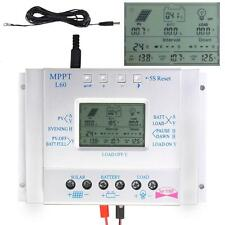 60A Solar Panel Charge Control 12V 24V Battery Regulator + Extension Cable US HS