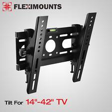"""Slim LED LCD Tilt TV Wall Mount Bracket 14 17 19 20 24 26 27 32 37 40 42"""" Inch"""