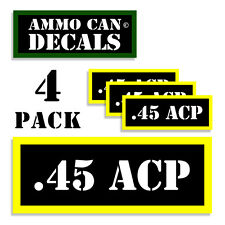 """45 ACP Ammo Can .45 Labels Ammunition Case 3""""x1.15"""" stickers decals 4 pack BLYW"""