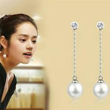 Women Girl White Pearl & Silver plated Earrings Ear Stud Earrings Wedding party