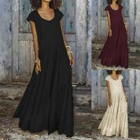 Women Buttons Square Neck Long Maxi Dress Cotton Ethnic Full Length Dress Plus