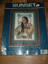 Sunset Counted Cross Stitch Kit #13633 Noble Reflections Native American NEW
