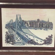 vtg San Francisco Oakland Bay Bridge Alabaster Etched Art Andreyev 1982 Ltd #387