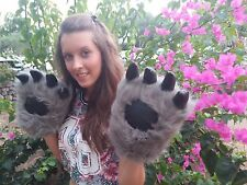 Bear gloves Costume paw glove fluffy cosplay animal wolf cat gloves