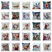 Hot Christmas Sofa Pillow Case 3D Snowman Cushion Cover Decorative Covers