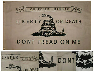 3x5 Embroidered Don't Tread On Me White Culpeper 100% Cotton Flag 3'x5' 2 Clips