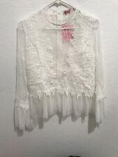 JJ's Fairyland $38 NEW Womens White Lace Sheer Ruffled LS Shirt Blouse Top Sz S