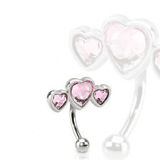 "1 Pc 16g 5/16"" Triple Heart Shape Pink CZ Curved Barbell Eyebrow Ring Piercing"