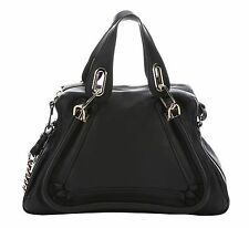 CHLOE Womens Black Calfskin Medium Paraty Chain Double Carry Bag NEW $1595