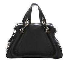 CHLOE Womens Black Calfskin Medium Paraty Chain Double Carry Bag NEW $1595