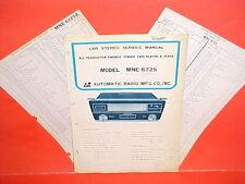 1969 AUTOMATIC RADIO CAR AUTO 8-TRACK STEREO TAPE PLAYER SERVICE MANUAL MNE-6725