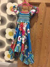 Vestido de fiesta chicas Verde Azulado Impresión Tribal Étnico Lila Multi Color boho hippy campesino