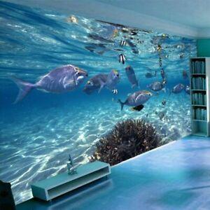 3D Underwater World Blue Ocean Fishes Papers Wall Room Living Bedroom Kids Mural