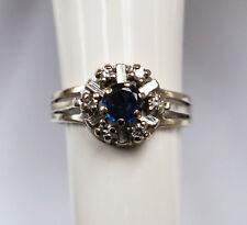 Damenring Damen Ring 14 Karat 585 Gold 3,4g  Weißgold Saphir 6 Brillanten Gr. 49