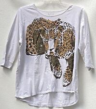 Erm London White Tiger Short Sleeve 100% Cotton top. Plus 1X