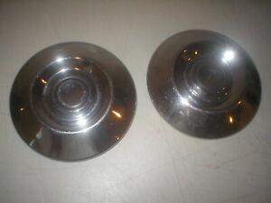"PAIR 1970s Nissan Datsun Dog Dish Hub Caps TRUCK OEM  Stainless Steel   9 1/8"""