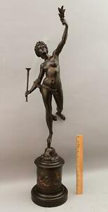 Large 19thC Antique Grand-Tour FORTUNA Italian Nude Woman Bronze Sculpture, NR