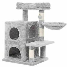 BEWISHOME Cat Tree Condo with Sisal Scratching Posts, Plush Perch, Dual Houses a