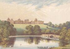 Blenheim Woodstock Oxfordshire Marlborough antique print c1873 Morris