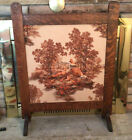 ANTIQUE ARTS & CRAFTS / TIGER OAK ,Quilted Raised Figures /On Linen ,FIRE SCREEN