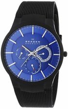 Skagen Men's 809XLTBN Aktiv Multi-Function Blue Dial Black Steel Mesh Watch
