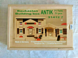 German Wooden Building Blocks 71 Piece Box Baukasten Toy Set