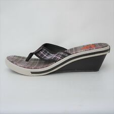 ROCKET DOG Women's sz 10 Brown / White Sneaker Style Plaid T-Strap Wedge Sandals