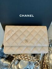 CHANEL 19S IRIDESCENT BEIGE CAVIAR WOC PEARLY CC WALLET On CHAIN 2019 ROSE GOLD