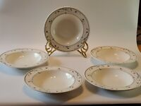 "Vintage Mikasa Intaglio 9"" Wide Rim Soup/Cereal Bowl Annette CAC20 Set of 5 EUC"