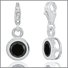 Sterling Silver Black CZ Round Drop Clip On European Charm #94006
