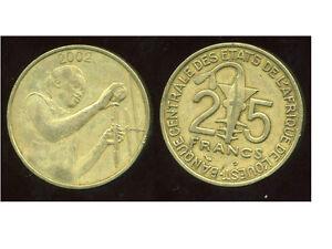 ETATS DE L'AFRIQUE DE L'OUEST  25 francs 2002