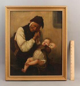Antique Greek Genre Oil Painting, Naughty Grandson, after Georgios Jakobides, NR