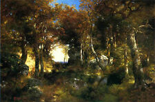 Large Oil painting Thomas Moran - The Woodland Pool forest landscape no framed