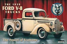 AUTO FORD V8 1939 CAMION GARAGE retrò vintage grandi in metallo latta WALL SIGN