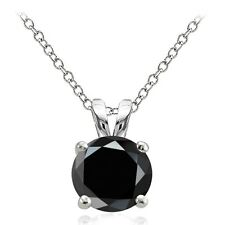 925 Sterling Silver 4ct Black Cubic Zirconia 10mm Round Solitaire Necklace