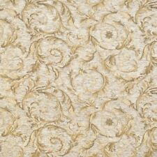 """57"""" Wide Floral Drapery Upholstery Chenille Fabric Natural Sold By the Yard"""