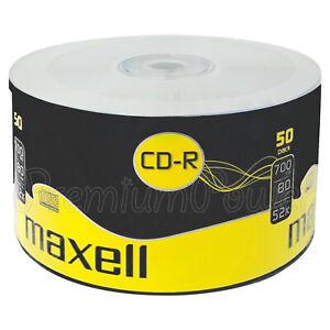 50 x Maxell CD-R disc 700MB 80min 52x speed Digital recordable Media Blanc discs