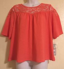 NWT APT. 9 Coral Short Sleeve Blouse Top w/ Crotchet Small Casual Or Career