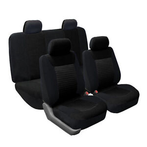 Solid Black Premium Fabric 2 Row Auto Car Seat Covers Air Bag Safe Split Bench