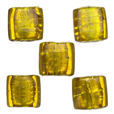 14mm Silver Lined Yellow Flat Square Glass Beads (PK5) (A81/9)