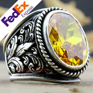 Turkish Handmade Ottoman 925 Sterling Silver Citrine Men's Luxury Ring All Sizes