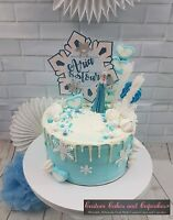 Personalised  frozen crystal snowflake floating name and age glitter cake topper