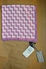 $165 NWT TOM FORD Pink White Zig Zag men silk pocket square handkerchief