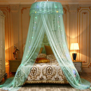 Mosquito Net Bedding Lace LED Light Princess Dome Mesh Bed Canopy Bedroom Decor