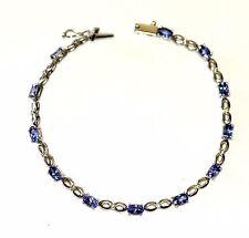 "14k white gold 5.9g .12ct diamond SI1 G tanzanite tennis bracelet 7"" vintage"