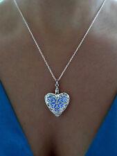 Aqua Blue Frozen Glow in the Dark Jewelry Gift Pendant Glowing Heart Necklace